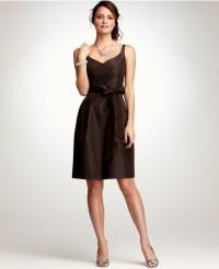 Ann taylor Silk Taffeta Vneck Bridesmaid Dress in Brown | Lyst