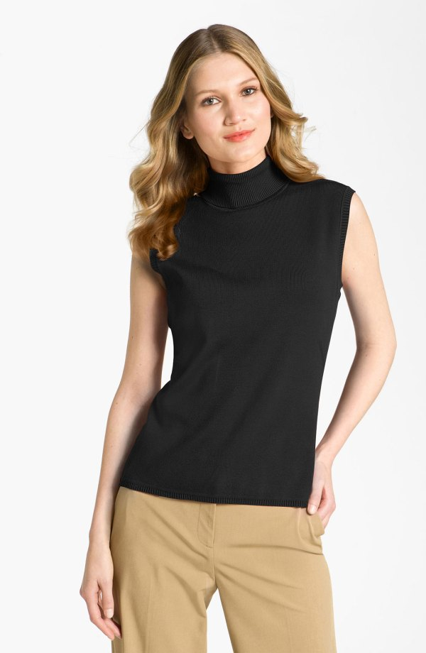 Black Sleeveless Turtleneck Top