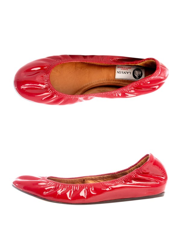 Lanvin Patent Leather Ballet Flats in Red Lyst