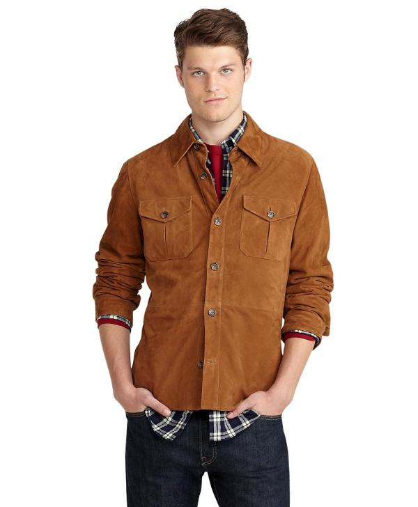 Brooks Brothers Suede Shirt Jacket In Brown Men Lyst