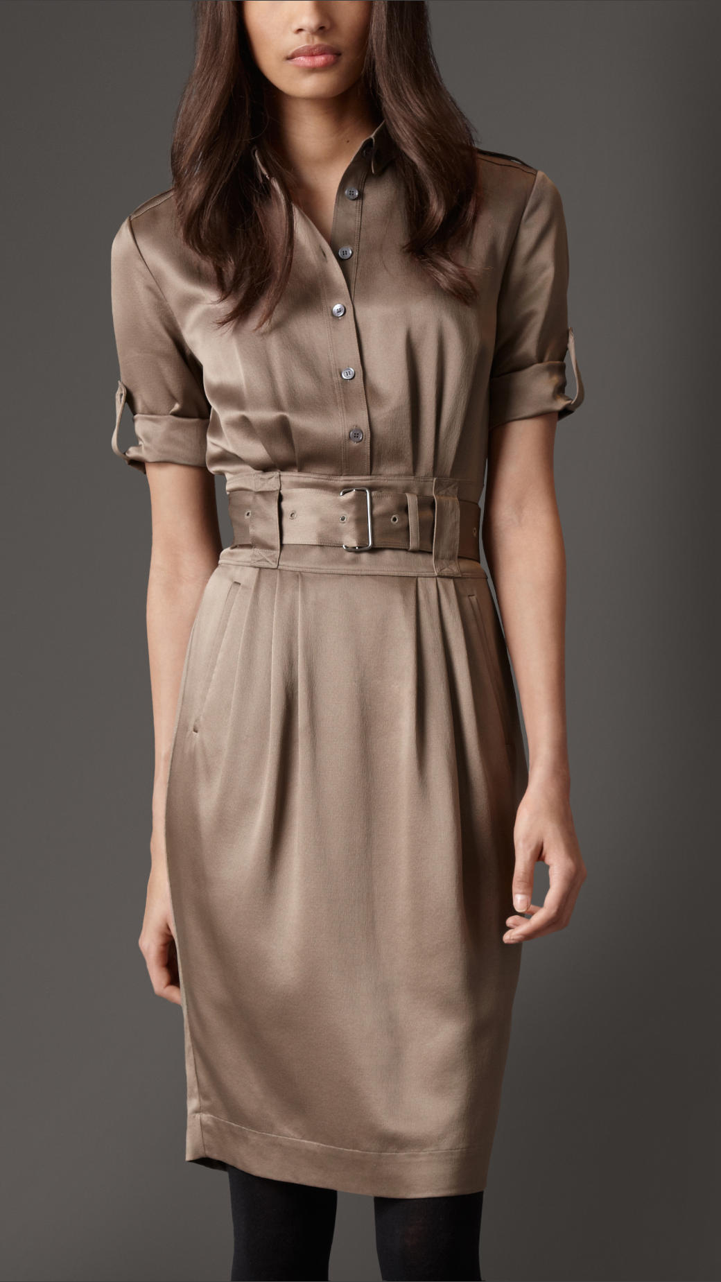 Burberry Silk Belted Shirt Dress in Brown | Lyst