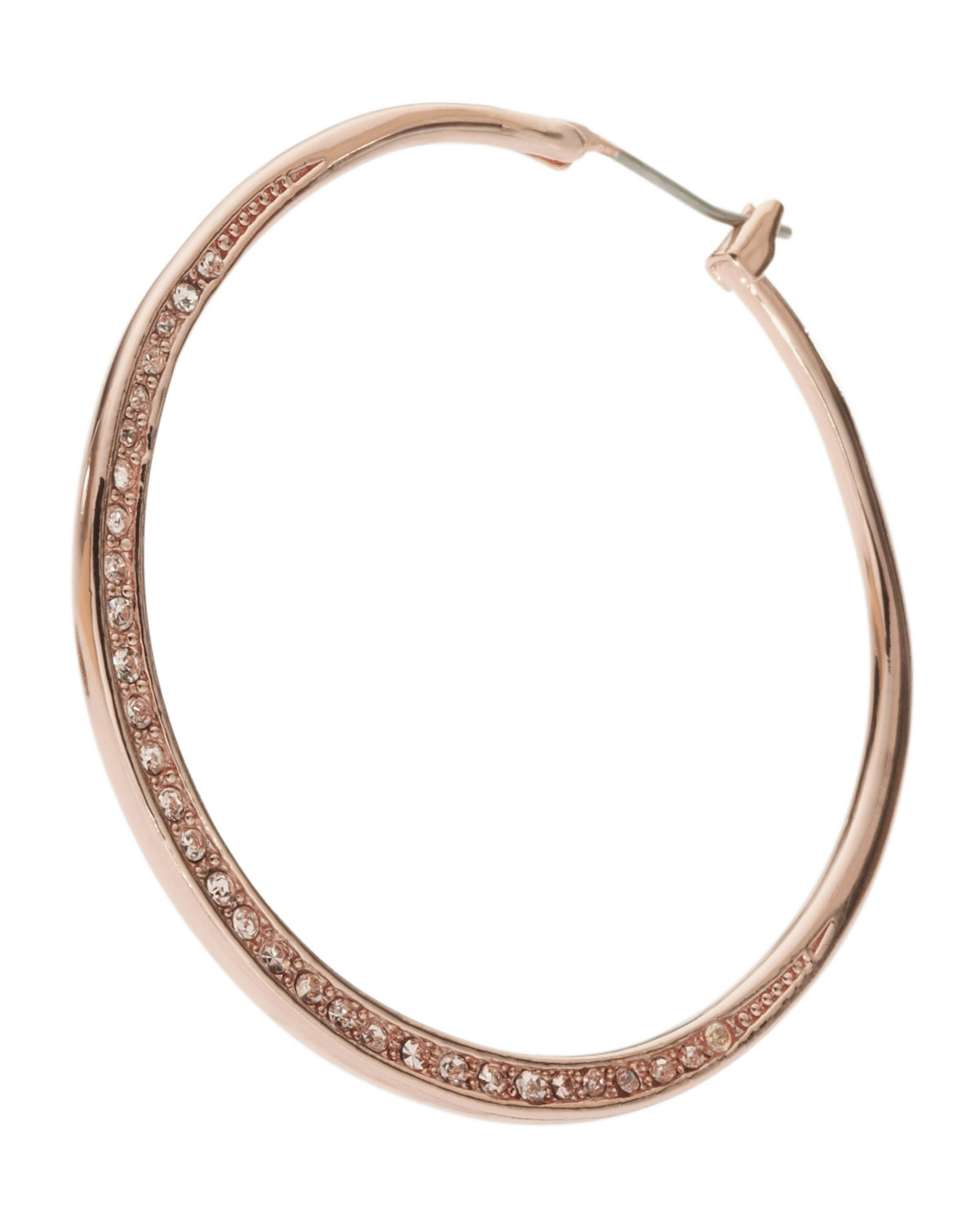 Michael Kors Rose Gold Pave Hoop Earrings in Pink (null