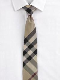 Burberry Modern Cut Check Silk Tie in Black for Men (beat ...