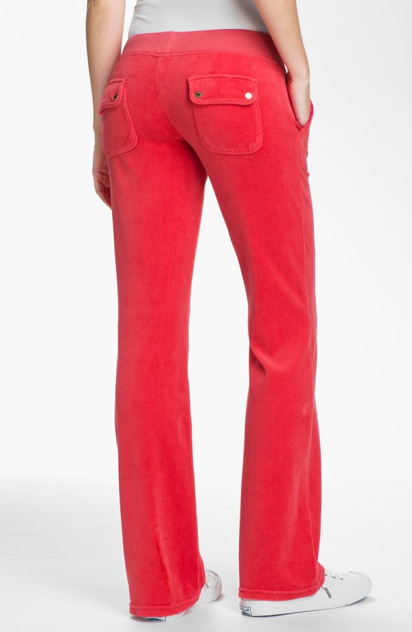 Juicy Couture Velour Pocket Pants In Red Siam Lyst