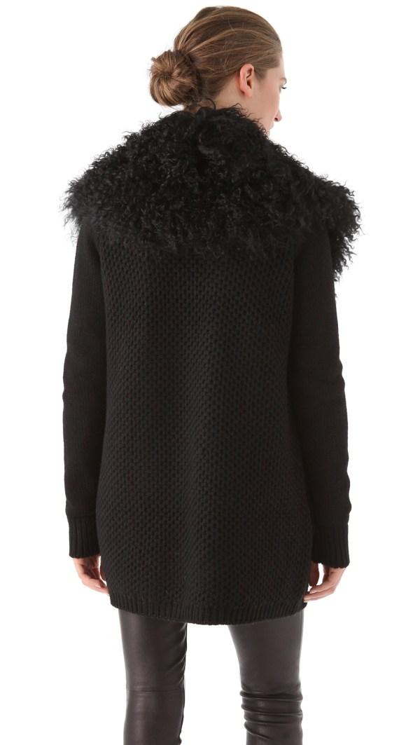 Lyst - Vince Fur Trim Cardigan In Black