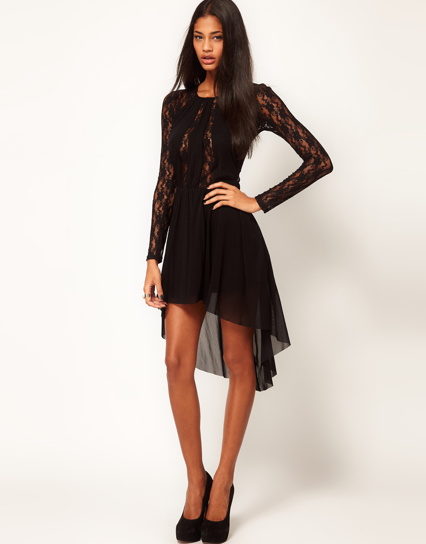 Asos Collection Asos Lace Insert Skater Dress with High Low Hem in Black  Lyst