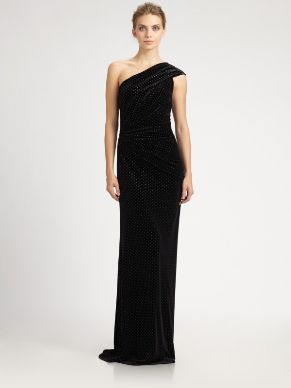 Lyst - David Meister Shoulder Velvet Gown In Black