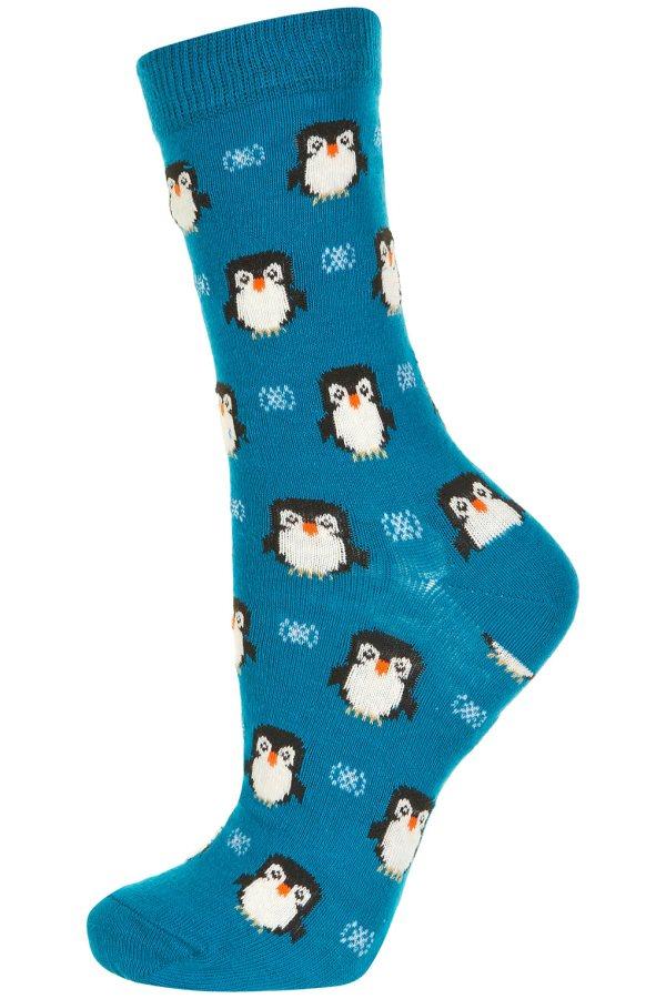 Lyst - Topshop Teal Penguin Ankle Socks In Blue