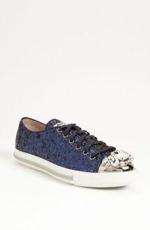 32caec5b7b92 Miu Miu Glitter Crystal Toe Sneaker in Blue Lyst