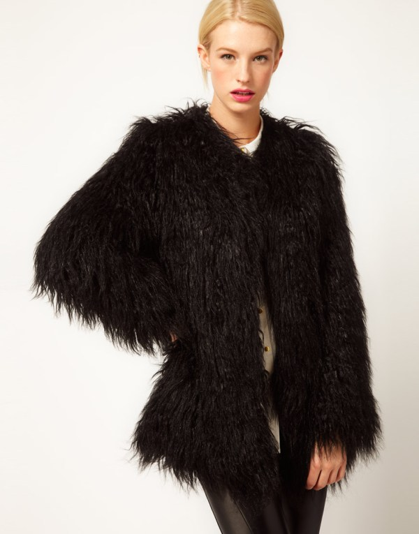 Asos Collection Mongolian Fur Jacket In Black - Lyst
