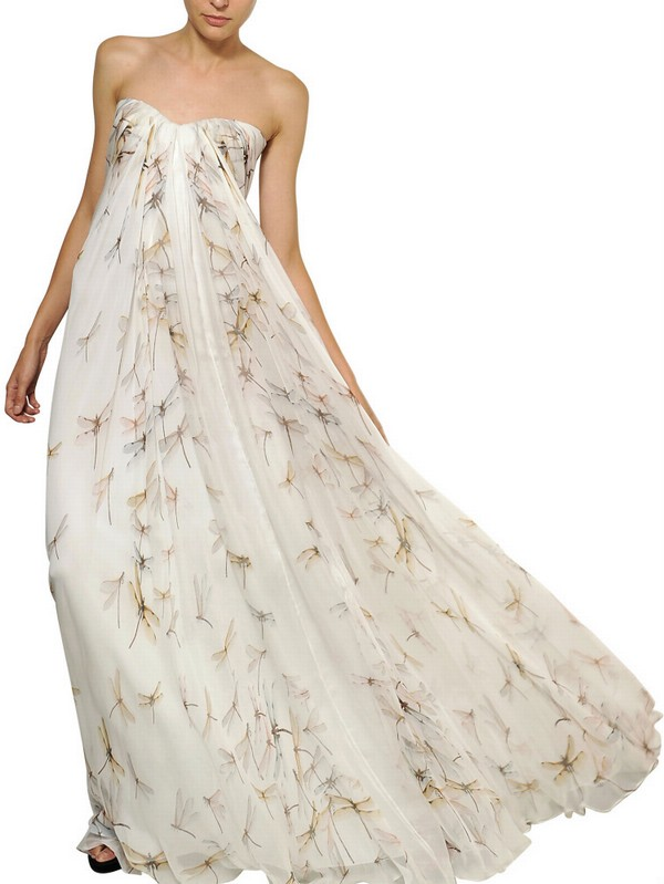 Lyst  Alexander McQueen Dragon Fly Print Silk Chiffon Long Dress in Natural