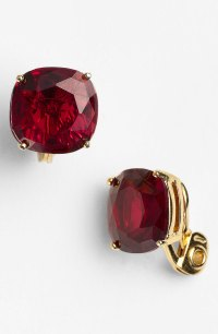 Kate spade new york Cushion Clip Earrings in Red | Lyst