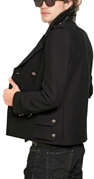 Balmain Cotton Gabardine Nappa Pea Coat in Black for Men - Lyst