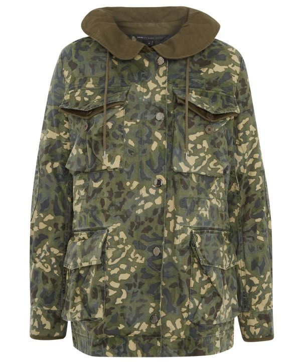 Marc Jacobs Khaki Camouflage Print Hooded Parka In