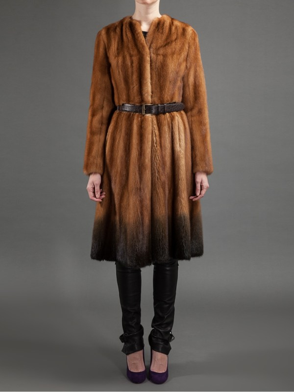 Fendi Belted Mink Fur Coat In Brown - Lyst