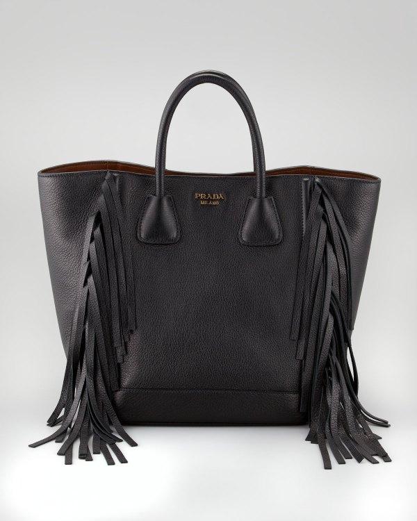 Lyst - Prada Cervo Fringe Tote Bag In Black