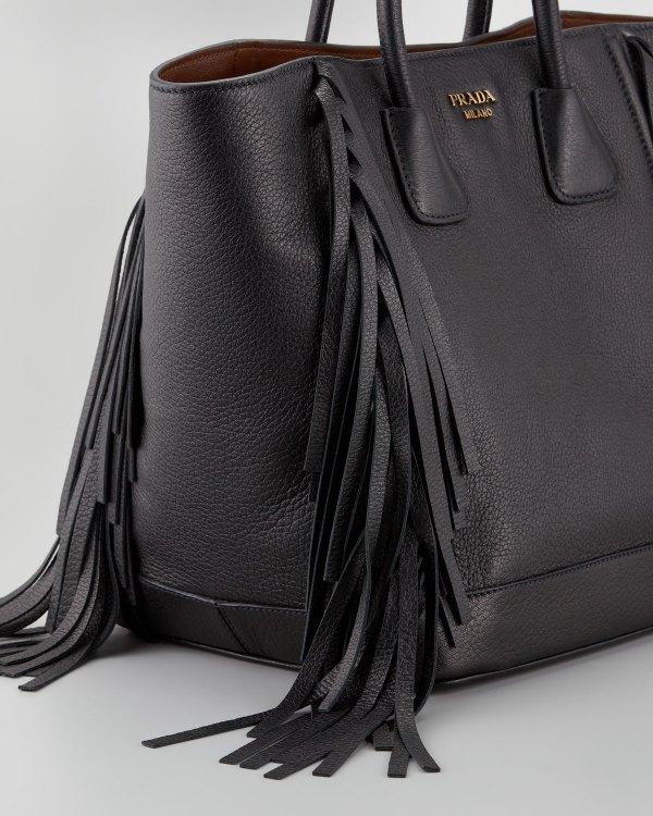 Prada Cervo Fringe Tote Bag In Black Lyst