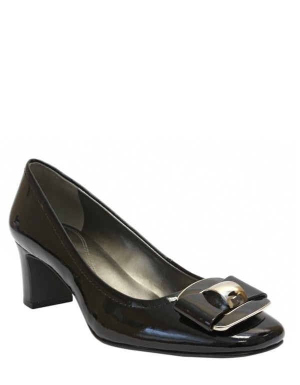 Tahari Sylvan Patent Leather Square Toe Pumps In Black
