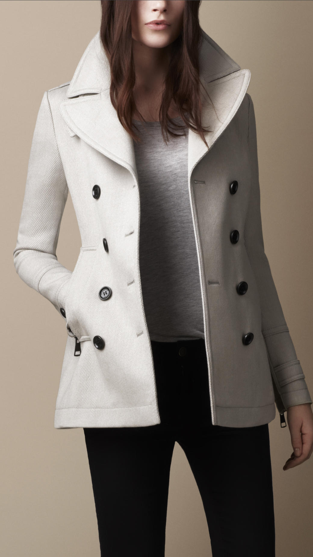 Lyst  Burberry Brit Wool Pea Coat in Gray