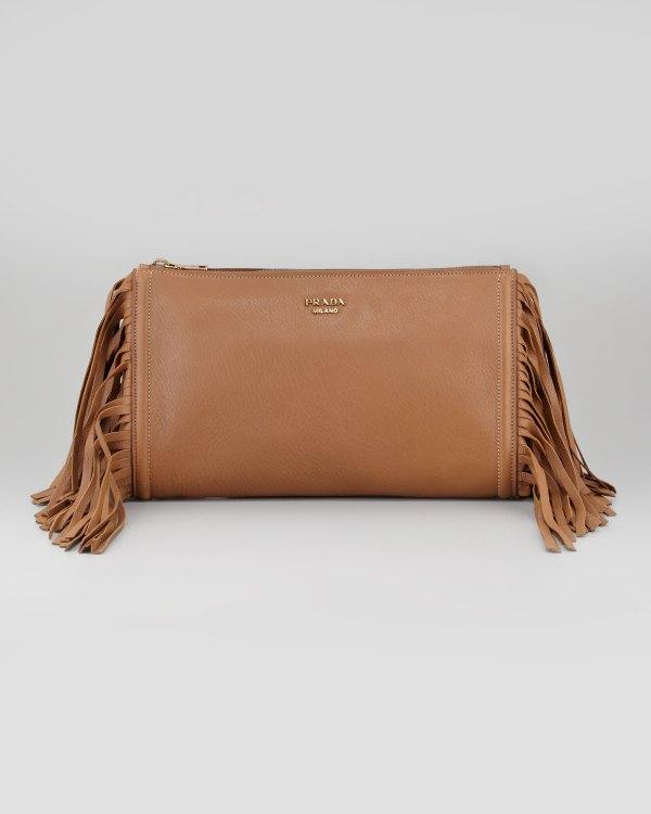 Prada Cervo Fringe Clutch Bag In Brown Dark Camel Lyst