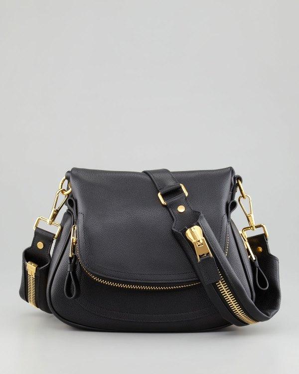 Tom Ford Jennifer Medium Flaptop Messenger Bag Black In