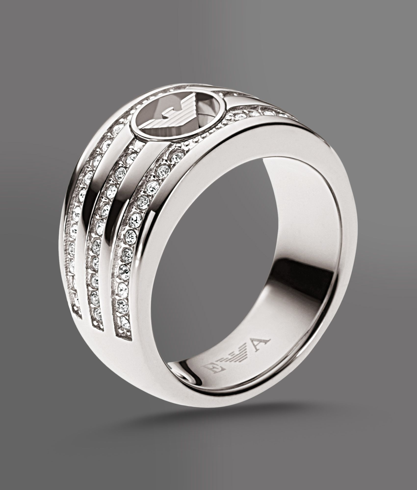 Emporio armani Ring in Steel and Crystals in Metallic  Lyst