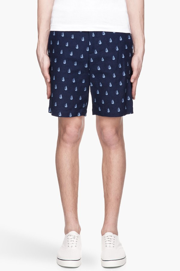 Band Of Outsiders Navy Blue Twill Tailored Sailboat Shorts