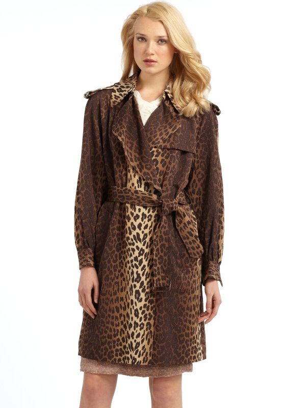 Moschino Leopard Print Trench Coat In Animal