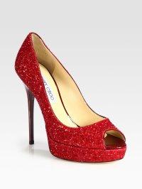 Lyst - Jimmy Choo Crown Glittercoated Leather Peep Toe ...