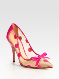 Lyst - Kate Spade Polkadot Patent Leather Mesh and Velour ...
