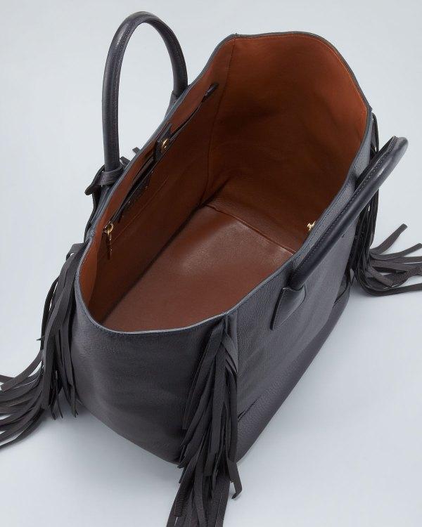 Prada Cervo Large Fringe Tote Bag Black In - Lyst