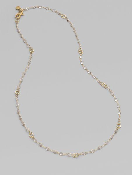 Dominique Cohen White Sapphire 18k Gold Bamboo Chain