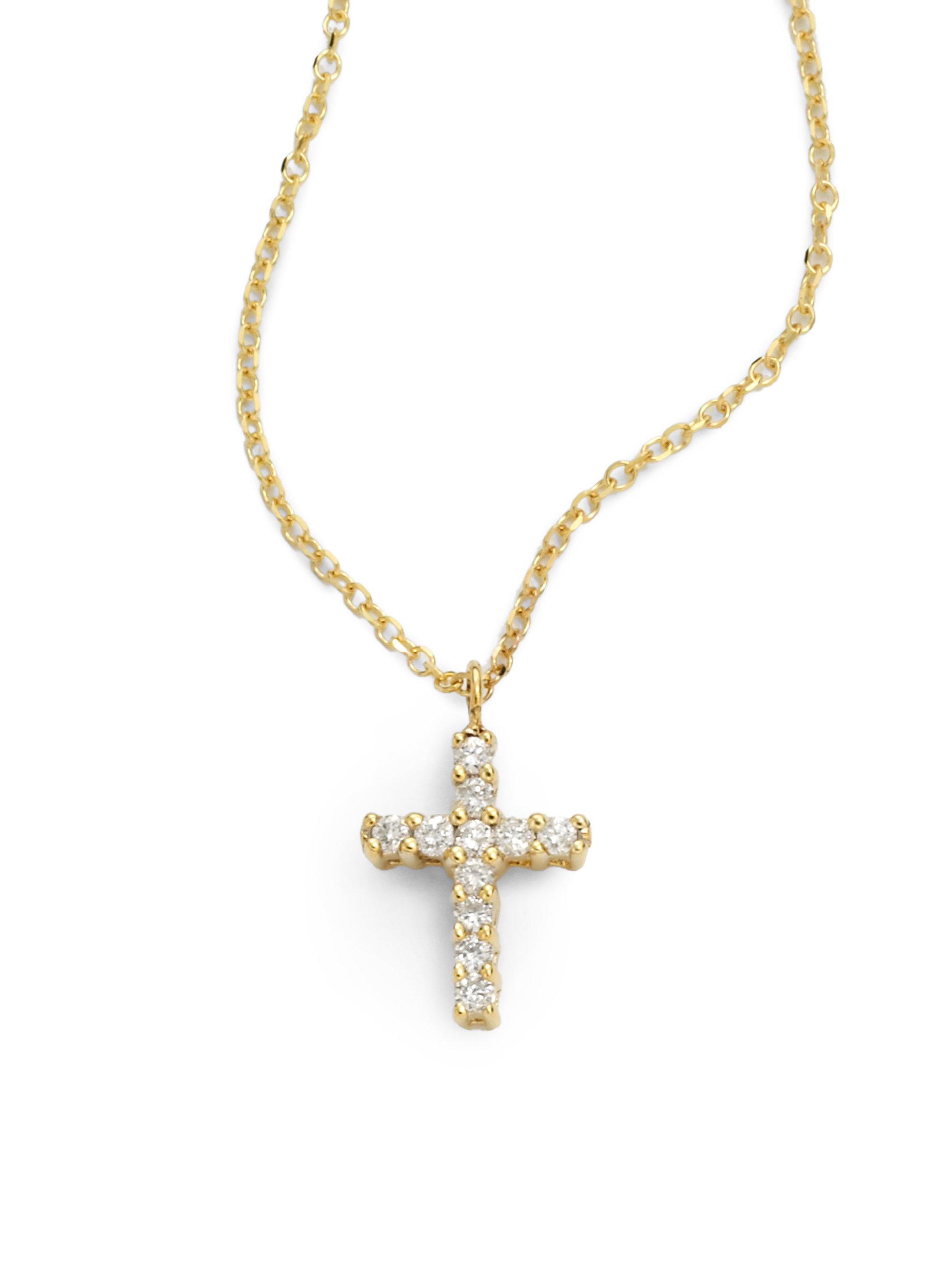 Kc designs Small Diamond Cross Necklace in Metallic