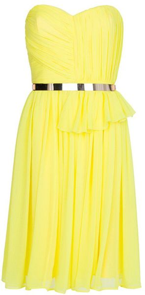 Mango Pleated Sheer Dress in Yellow Lyst