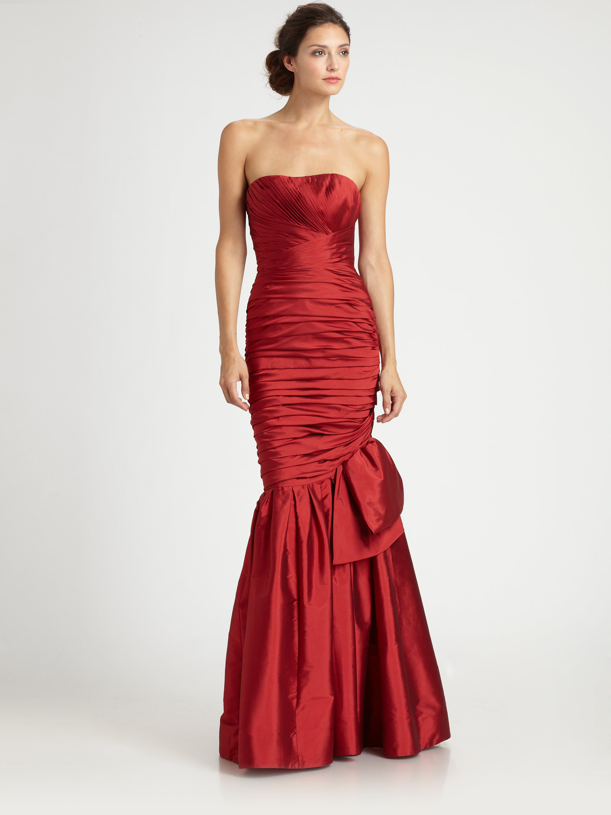 Ml Monique Lhuillier Trumpetskirt Gown in Red scarlet  Lyst