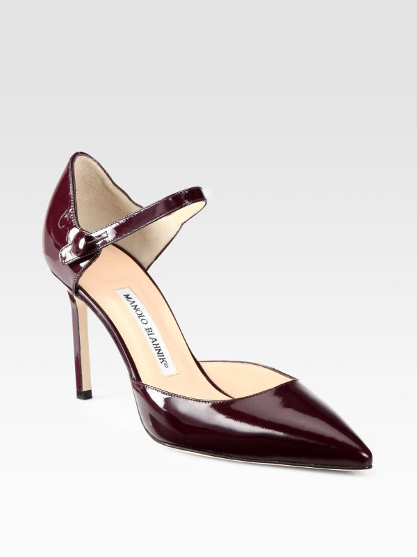 Manolo Blahnik Norvany Patent Leather Mary Jane Pumps In