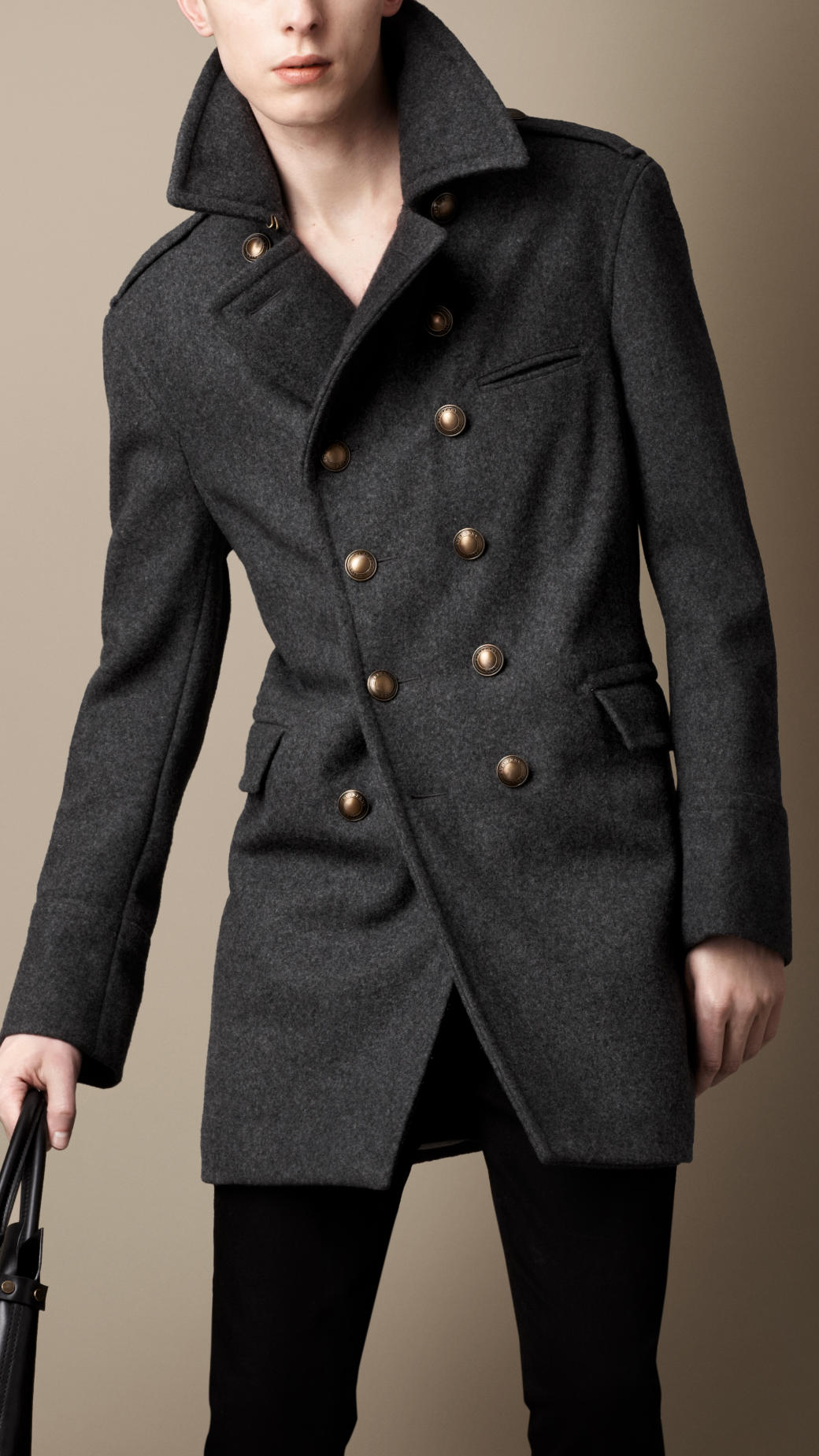 Lyst  Burberry Melton Wool Blend Military Coat in Gray