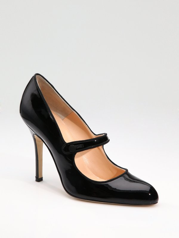 Lyst - Manolo Blahnik Campy Patent Leather Mary Jane Pumps