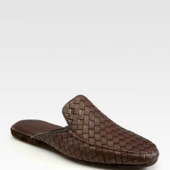 Leather Slipper Chair Chocolate Spandex Covers Party City Lyst Bottega Veneta Slippers In Brown For Men