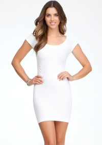Bebe Raglan Short Sleeve Bodycon Dress in White | Lyst