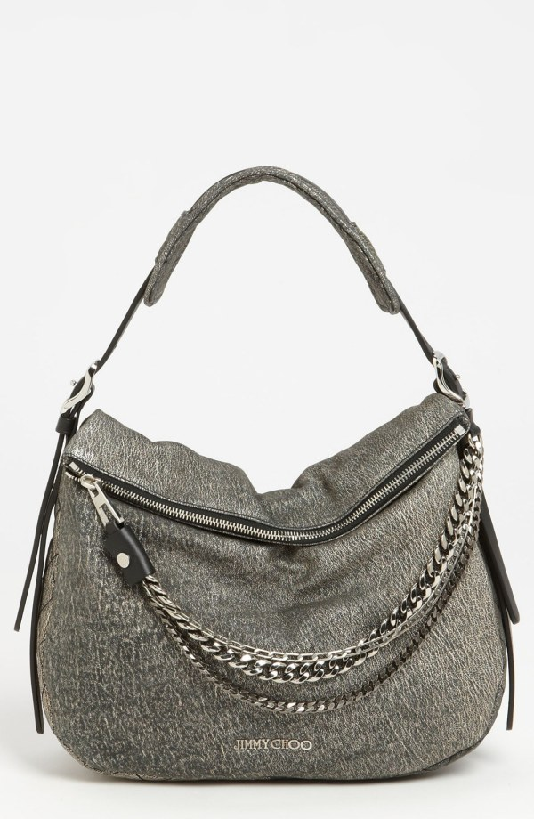 Jimmy Choo Boho Small Suede Hobo In Gray Platinum Lyst