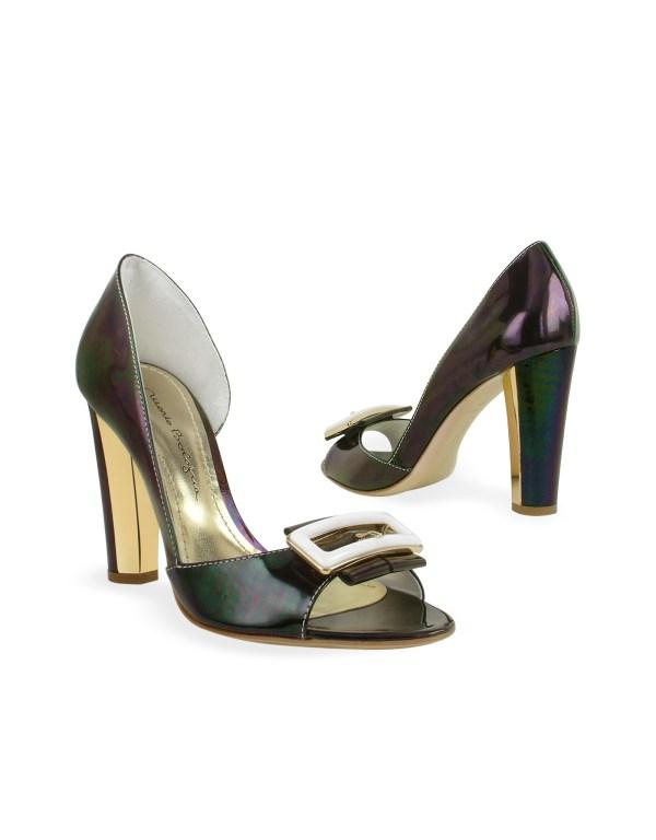Mario Bologna Dark Purple Patent Leather Pump Shoes In