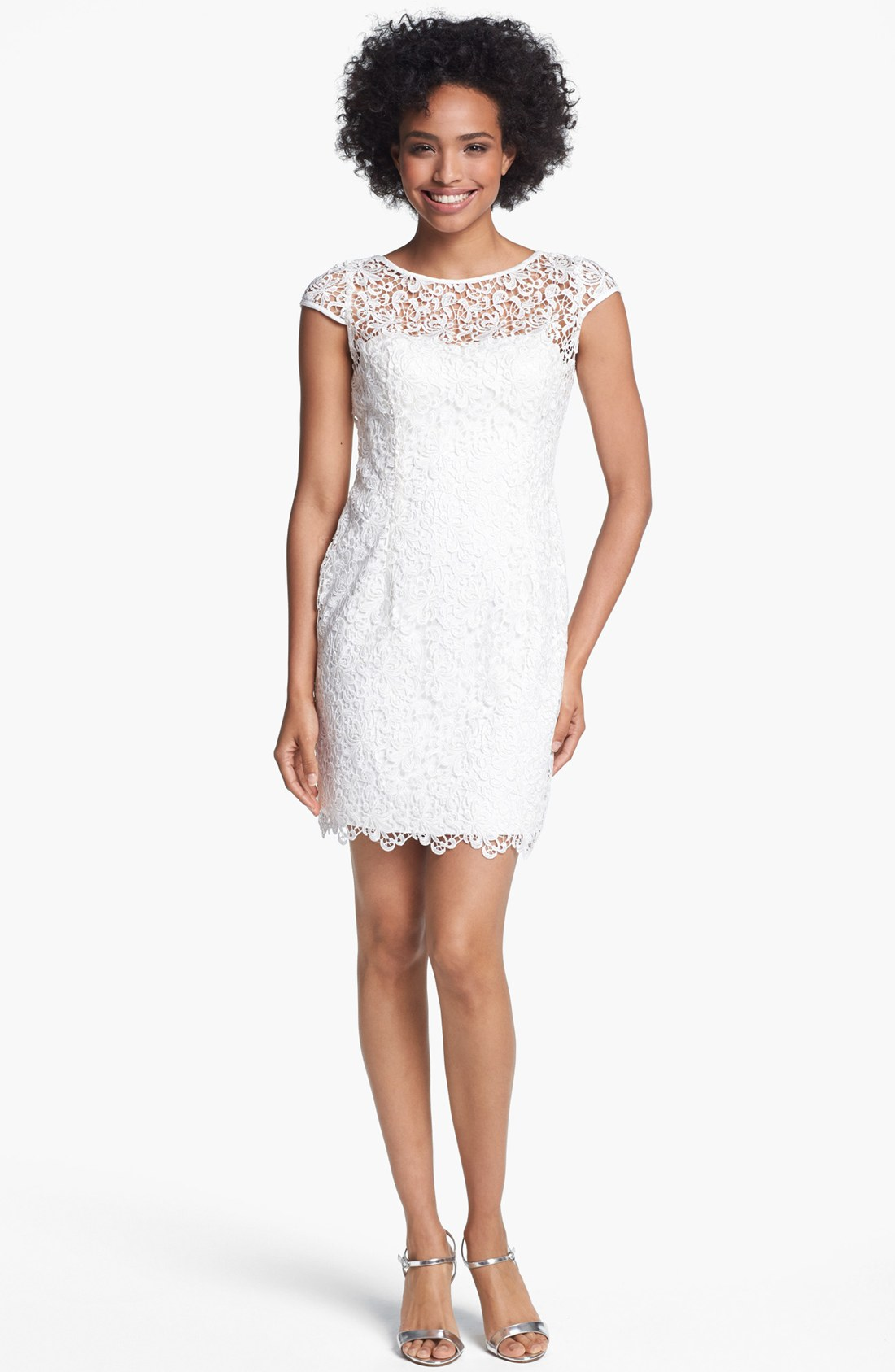 Adrianna Papell Cap Sleeve Lace Sheath Dress in White  Lyst