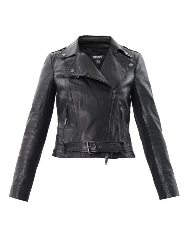 Dkny Leather Biker Jacket In Black Lyst
