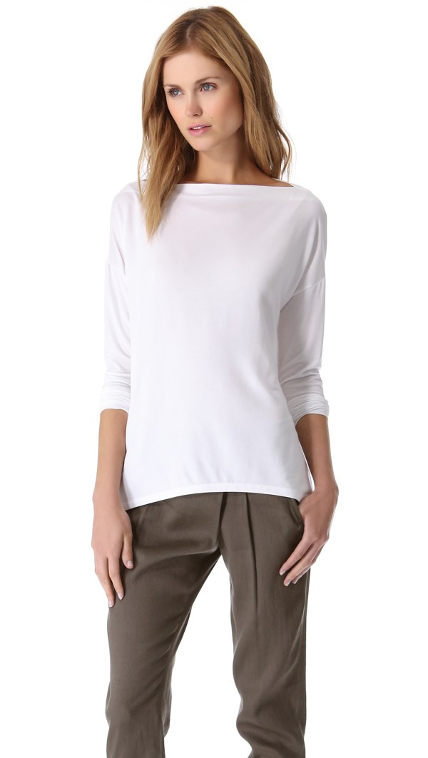 Vince Boat Neck Top In White Lyst