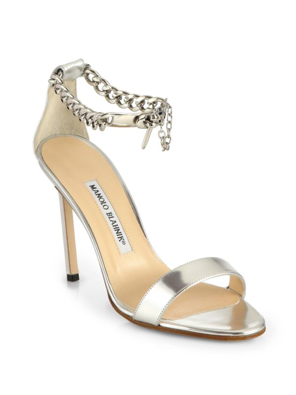 Lyst - Manolo Blahnik Chaos Metallic Leather Ankle-chain