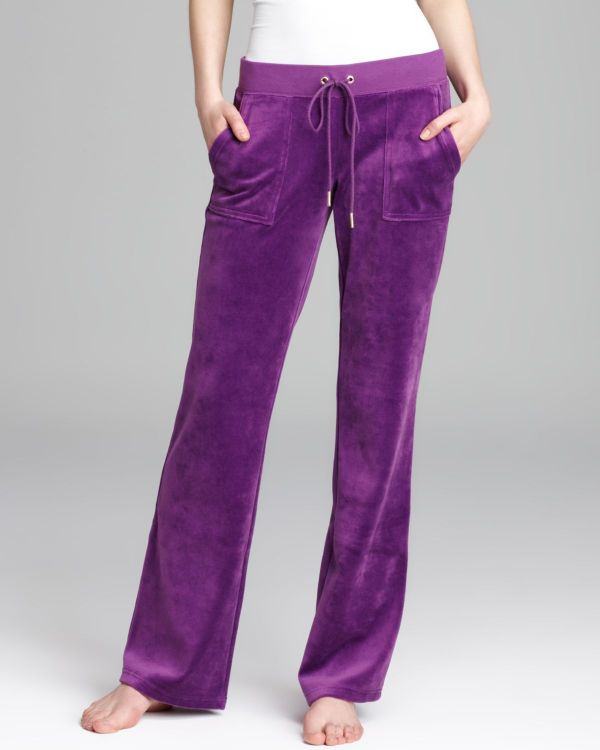 Lyst - Juicy Couture Bootcut Pants Velour Bling In Purple