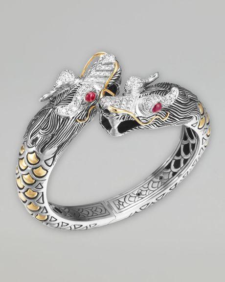 John Hardy Naga Pave Diamond Dragon Cuff in Silver (null