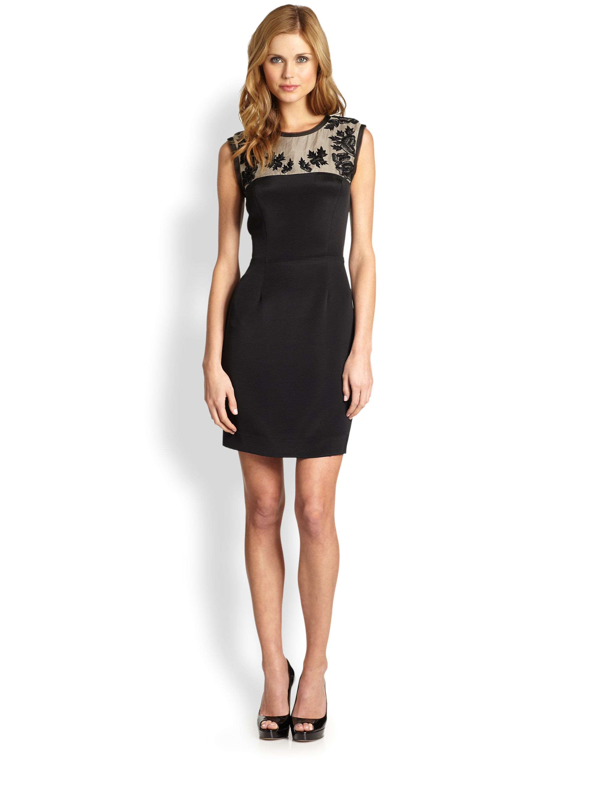 Nicole Miller Rose Embroidered Cocktail Dress in Black