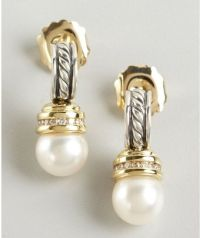 David Yurman Silver and Gold Twisted Cable Pearl and